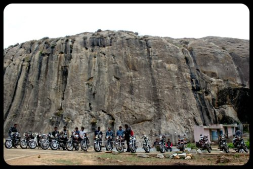 Bikes against the hillock at Devarabetta2